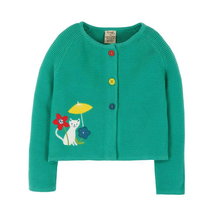 Frugi Annie Applique Strickjacke  Pacific Aqua/Cat