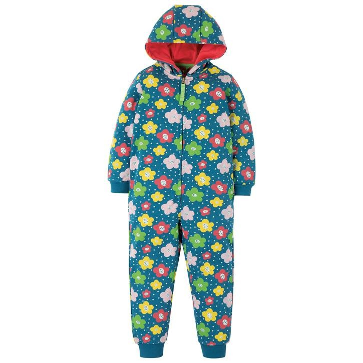 Frugi Big Snuggle Overall  Steely Blue Floral Spot