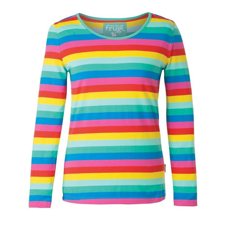 Frugi Grown Ups Bryer Top  Flamingo Multi Stripe