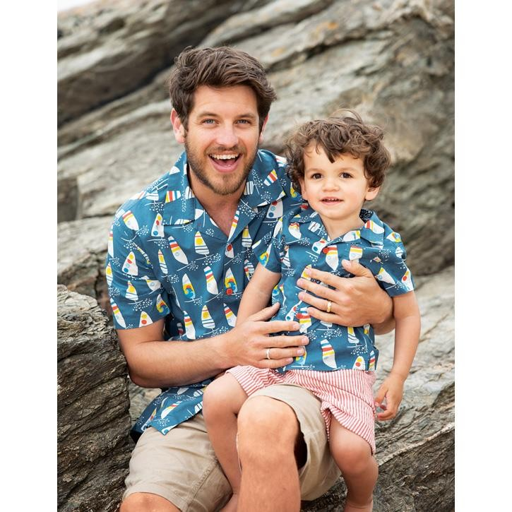 Frugi Grown Ups Hawaiian Shirt  Steely Blue Ride The Waves