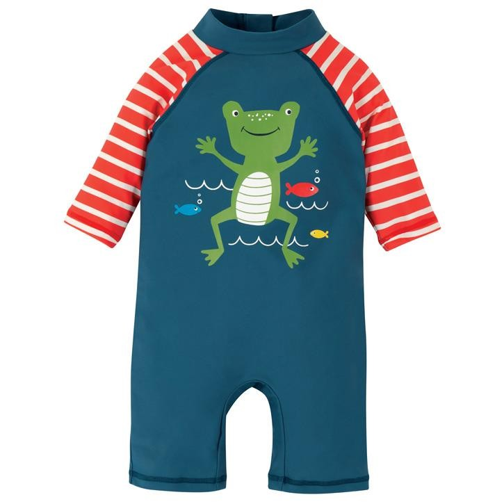 Frugi Little Sunsafe Overall  Steely Blue/Frog