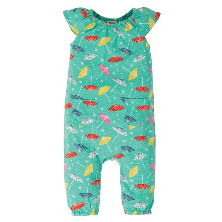 Frugi Niamh Gathered Play Overall  Pacific Aqua Parasols