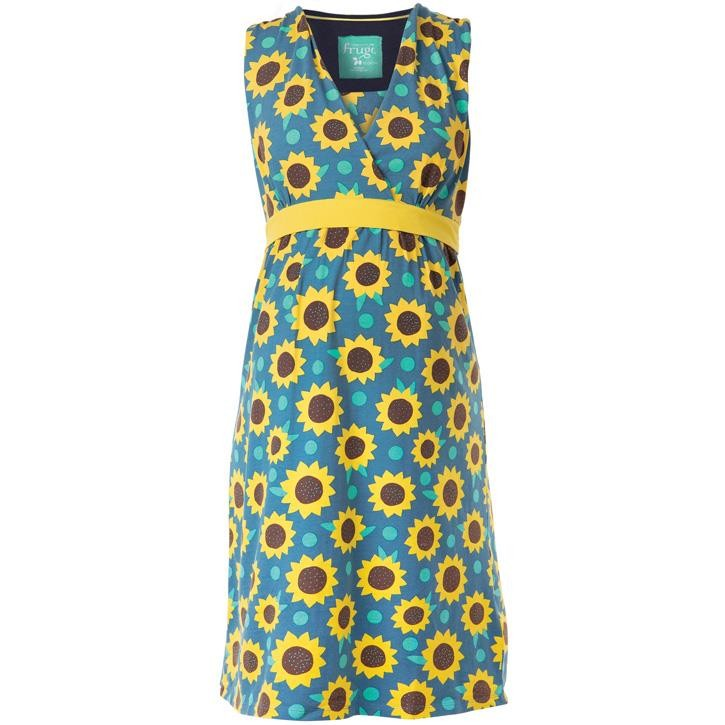 Frugi Summer Tie Kleid  Steely Blue Sunflowers